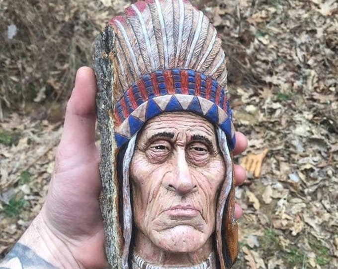 Halloween SALE Native American, Indian Wood Carving, Unique Sculpture, by Josh Carte, Made in Ohio, Indian Sculpture, Carving of a Face, Chi