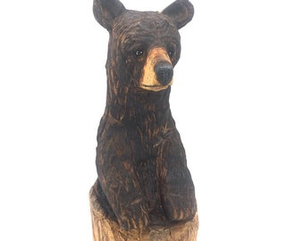 Bear Chainsaw Carving, Wooden Bear, Bear Wood Carving, by Josh Carte, Wood Art Carving, Hand Carved Wood Art, Unique Bear Sculpture