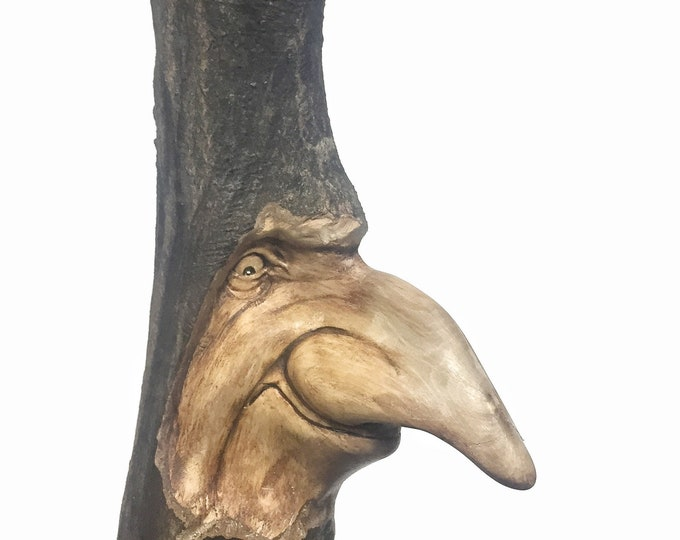 Wood Carving, Schnoz, Big Nose, Hand Carved, by Josh Carte, Wall Art Statue, Whimsical Art, Perfect Wood Gift, Wooden Carving, OOAK, Faces