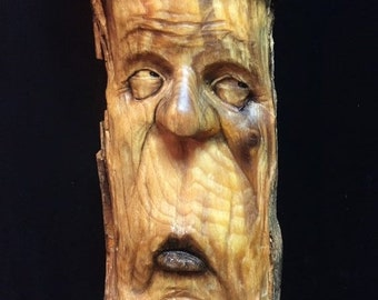 SUMMER SALE Wood Carving, Wood Carving of a Face, Wooden Sculpture, Wood Spirit Carving, Hand Carved Wood Art, by Josh Carte