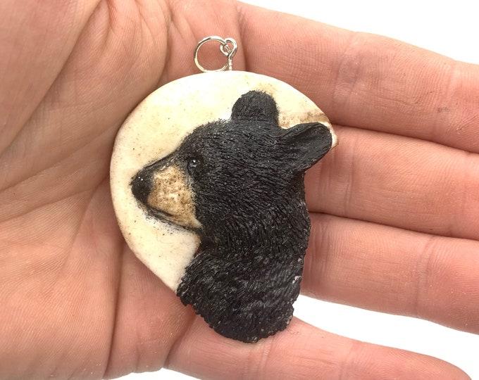 Bear Pendant, Black Bear Necklace, Bear Art, Bear Carving, by Josh Carte, Bear Jewelery, Cute Bear Art, Made in Ohio