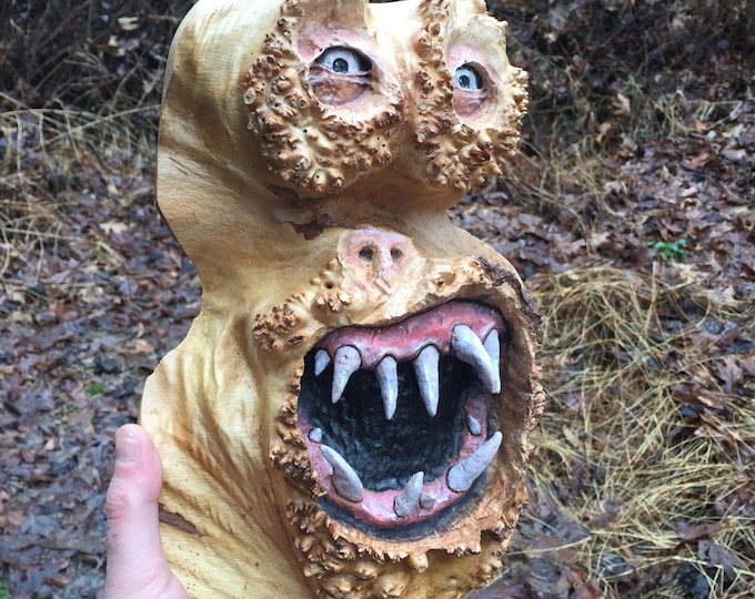 Wood Carving, Creature, Handmade Woodworking, Sculpture by Josh Carte, Unique Wood Art, Carved Home Decor, Maple Burl Carving, OOAK Wall Art