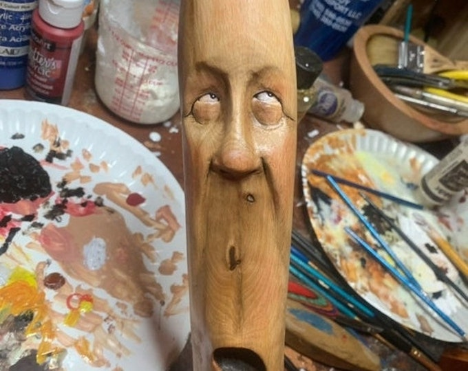 Halloween SALE Walking Stick, Wood Carving, Carving of a Face, Wood Spirit Carving, by Josh Carte, Hand Carved Wood Art, Original Art Sculpt
