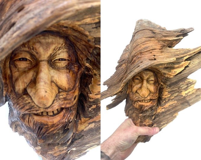 Wood Spirit Carving, Wood Wall Art, Wood Carving by Josh Carte, Hand Carved Wood Art, Handmade Woodworking, Carving of a Face
