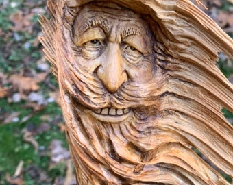 Wood Spirit Carving, Carving Of A Face, Hand Carved Wall Art, By Josh Carte, Log Home Decor, Unique Wood Art, Handmade Woodworking
