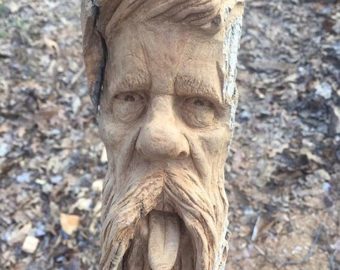 SUMMER SALE Wood Carving, Hand Carved Wood Art, by Josh Carte, Made in Ohio, Unique Sculpture, Carving of a Face, Beard and Mustache