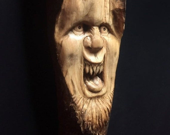 SUMMER SALE Wood Carving, Chainsaw Carving, Made In Ohio, Wood Spirit Carving, Carving of a Face, by Josh Carte, Hand Carved Wood Art