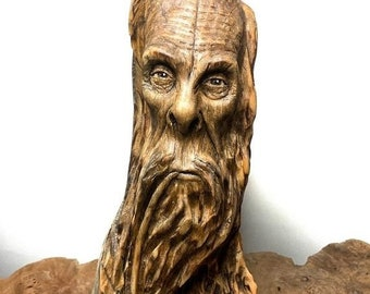 Halloween SALE Bigfoot Carving, Wood Carving, Carving of Sasquatch, Carving of a Face, Pipe Smoker, by Josh Carte, Made in Ohio, Bigfoot Scu