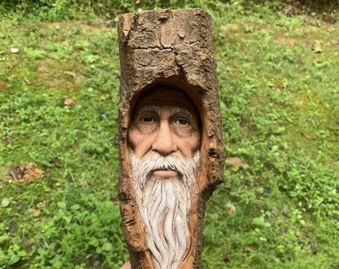 Halloween SALE Wood Carving, Wizard, Hand Carved Wood Art, by Josh Carte, Made in Ohio Wood Wall Art, Old Man Carving, Wood Spirit Carving
