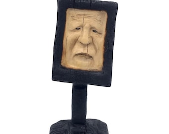 Wood Carving, Abstract Wood Sculpture, Carving of a Face, by Josh Carte, Made in Ohio, Hand Carved Wood Art, Perfect Wood Gift