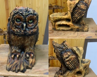 Owl Chainsaw Carving with Storage, Owl Wood Carving, by Josh Carte, Hand Carved Wood Art, Functional Art, Unique Sculpture