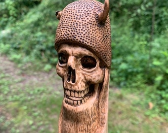 Walking Stick, Wood Carving, Carved Walking Stick, Hiking Stick, Skull Art, by Josh Carte, Handmade Woodworking, Unique Wood Art