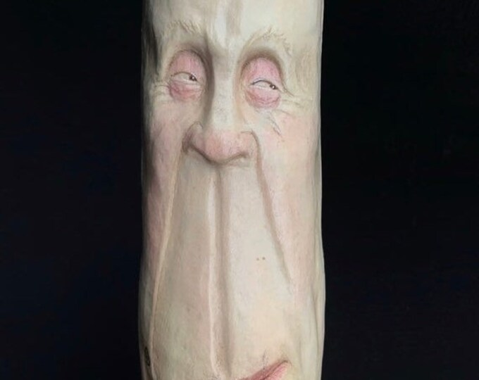 20% Off Sale Walking Stick, Wood Carving, Wood Spirit Carving, Hiking Staff, Cane, Wooden, by Josh Carte, Made in Ohio