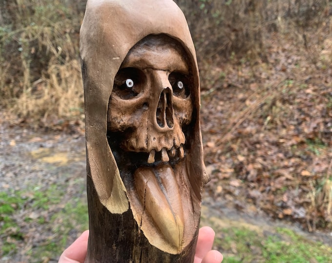 Skull Wood Carving, Macabre Art, Wood Wall Art, Hand Carved Wood Art, Carving of a Skull, by Josh Carte, Dark Art Carving, Wood Carving