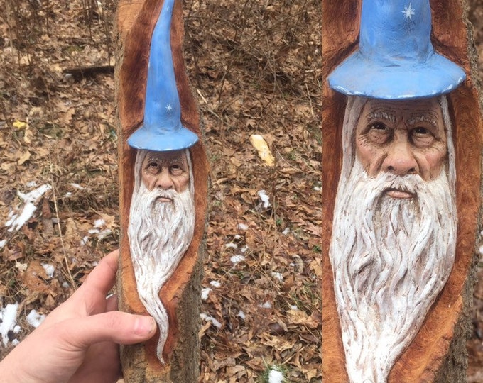 Wizard Wood Carving, Wizard Hat, Made in Ohio, Magical Wood Carving, Carving of a Face, Hand Carved Wood Art, by Josh Carte