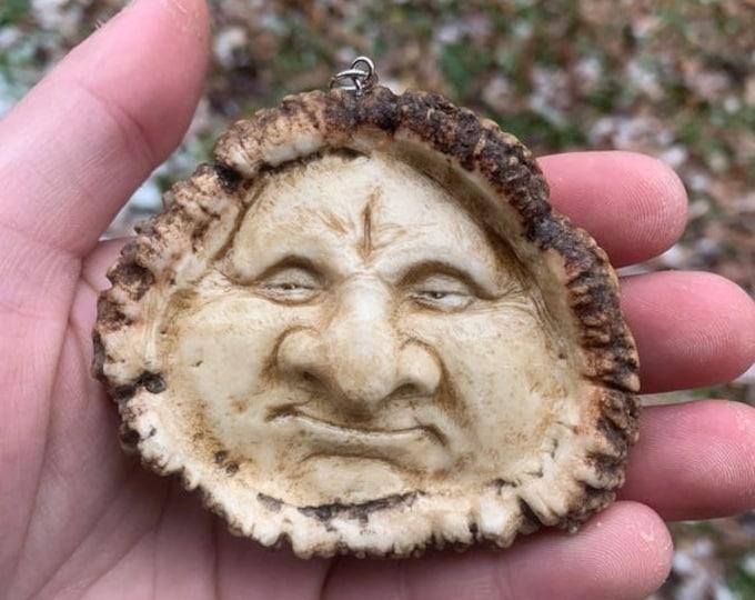 SALE New Year Elk Antler Carving, Bone Carving, Bone Jewelry, Antler Necklace, by Josh Carte, Hand Carved Art, Unique Sculpture, OOAK Carvin