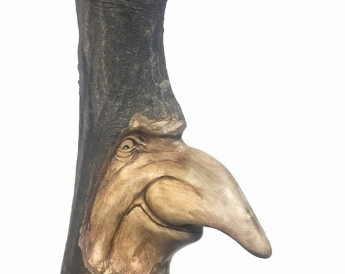 SUMMER SALE Wood Carving, Schnoz, Big Nose, Hand Carved, by Josh Carte, Wall Art Statue, Whimsical Art, Perfect Wood Gift, Wooden Carving, O