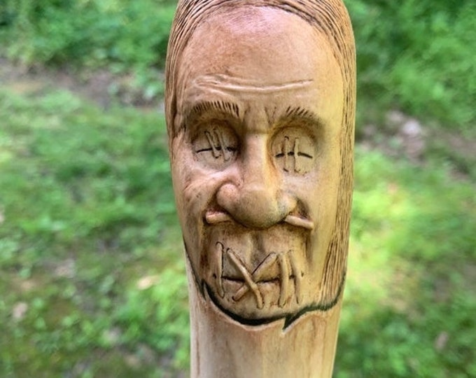 25% Off Sale Shrunken Head, Walking Stick, by Josh Carte, Wood Carving, Dark Art, Voodoo, Carving of a Face, Handmade Woodworking