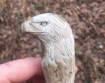 Eagle Knife, Hunting Knife, Hand Carved Art, Bone Knife, Bone Carving, Antler Art, Deer Antler Knife, by Josh Carte, Custom Knife, Made Ohio
