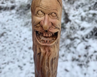 WalkIng Stick, Wood Carving, Hand Carved Wood Art, Hiking Stick, Wood Spirit Carving, Wood Walking Stick, Carving Of A Face