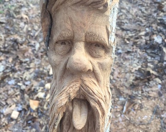 Wood Carving, Hand Carved Wood Art, by Josh Carte, Made in Ohio, Unique Sculpture, Carving of a Face, Beard and Mustache