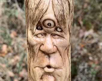 Walking Stick, Wood Carving, Carving Of A Face, Hand Carved Wood Art, By Josh Carte, Wood Spirit Carving, Hiking Stick, Wood Cane