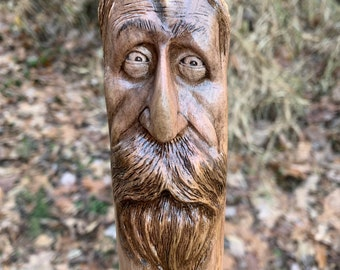 Walking Stick, Wood Carving, Wooden Cane, Hiking Stick, by Josh Carte, Carving of a Face, Hans Carved Wood Art, Walking Staff, Made in Ohio