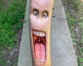 Walking Stick, Wood Carving, Creature, Hand Carved Walking Stick, Hiking Stick, Wooden Cane, by Josh Carte, Made in Ohio