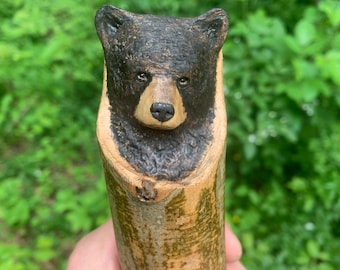 Bear Walking Stick, Bear Wood Carving, Black Bear, Carved Walking Stick, Hiking Stick Carving, by Josh Carte, Made in Ohio, Unique Cane