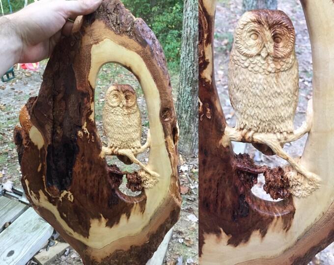 Barred Owl Tree Scene, Wood Carving, Wood Sculpture by Josh Carte, Handmade Woodworking, Birthday Gift, Anniversary Gift, Heirloom, OOAK
