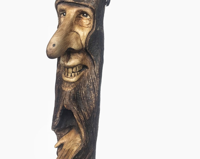 Wood Carving, Wood Spirit, Hand Carved, by Josh Carte, Wood Wall Art, Whimsical Art, Surrealism, Unique Sculpture, Perfect Wood Gift, Art