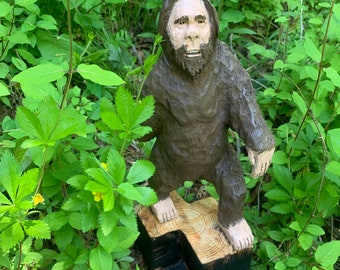 Bigfoot Wood Carving, Sasquatch Chainsaw Carving, Yeti sculpture, Hand Carved Wood Art, by Josh Carte, Made in Ohio, Bigfoot Art