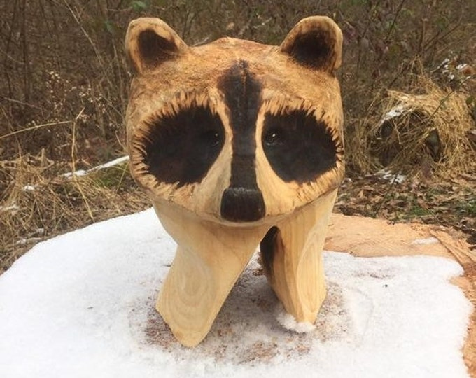 SUMMER SALE Raccoon, Wood Carving, Chainsaw Carving, Made in Ohio, by Josh Carte, Hand Carved Wood Art, Unique Artist Sculpture