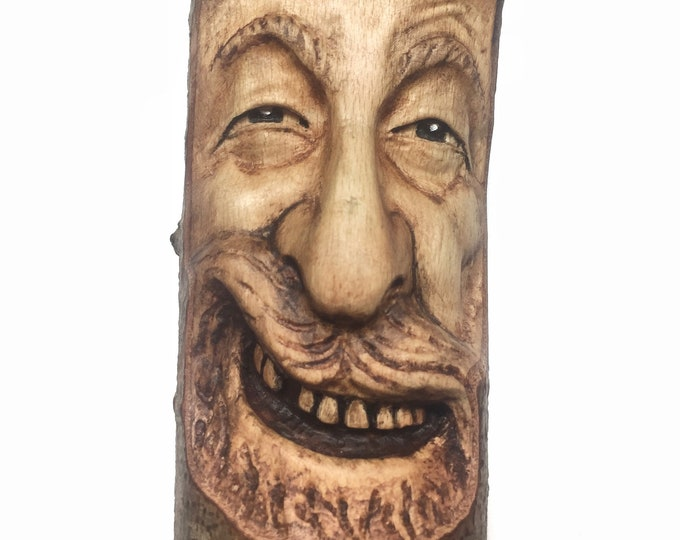 Wood Spirit Carving, Wooden Sculpture, Hand Carved, by Josh Carte, Perfect Wood Gift, Handmade Woodworking, OOAK Wood Art, Faces, Beard, Art