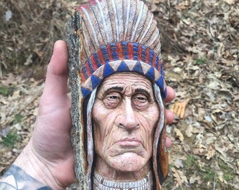 Native American, Indian Wood Carving, Unique Sculpture, by Josh Carte, Made in Ohio, Indian Sculpture, Carving of a Face, Chief