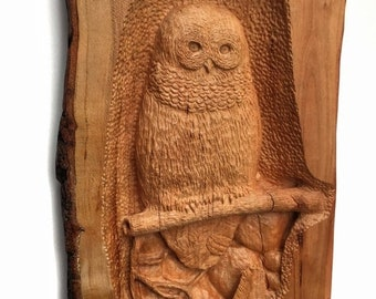 SUMMER SALE SALE, Owl Wood Carving, Hand Carved Bird, Owl Wood Sculpture, Perfect Birthday Gift, Gift for Owl Lovers,