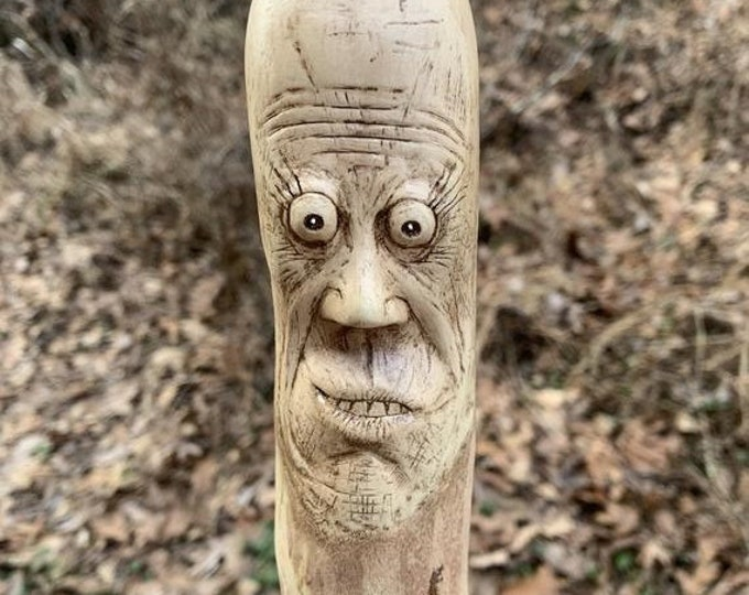 SALE New Year Walking Stick, Wood Carving, Carving of a Face, Hiking Stick, Hand Carved Wood Art, by Josh Carte, Made in Ohio