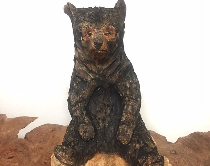 Bear Chainsaw Carving, Carved Bear, Bear Wood Carving, by Josh Carte, Made in Ohio, Carving of a Bear