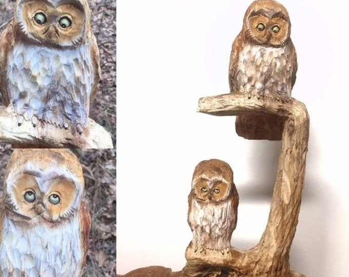 SUMMER SALE Owls, Chainsaw Carving, Carved Owls, Hand Carved Wood Art, Unique Wood Sculpture, Made in Ohio, by Josh Carte, Wooden Owl
