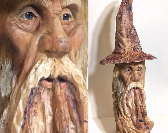 Wizard Wood Carving, Chainsaw Carving, Hand Carved Wizard, by Josh Carte, Made in Ohio, Sorcerer, Magical, Handmade Woodworking, OOAK