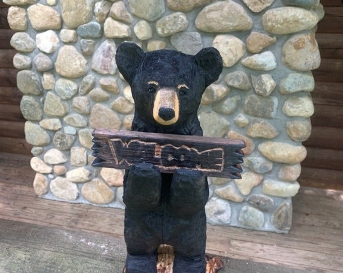 25% Off Sale Bear Chainsaw Carving, Welcome Bear, Bear Wood Carving, Black Bear Carving, Bear Art, by Josh Carte, Hand Carved Wood Art, Made
