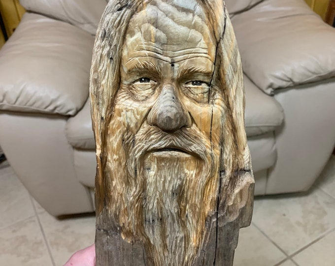 Driftwood Carving, Driftwood Art, Wood Spirit Carving, Mountain Man, by Josh Carte, Hand Carved Wood Art, Wood Wall Art, Carving of a Face