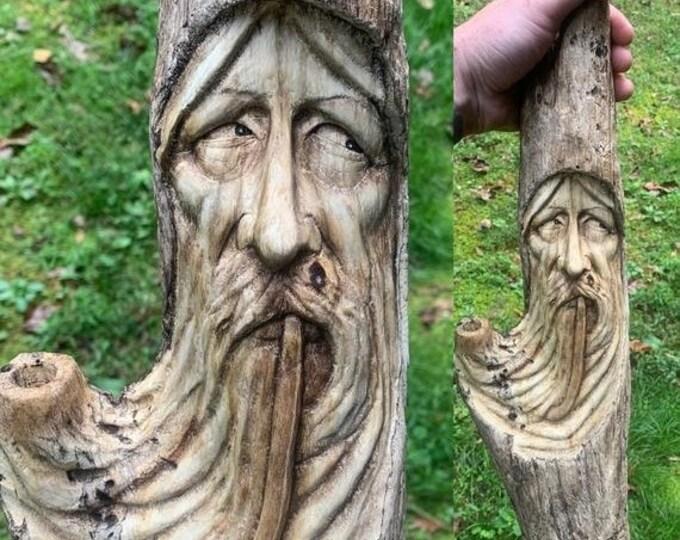 Halloween SALE Wizard Wood Carving, Pipe Smoker, Driftwood Carving, Hand Carved Wood Art, Wood Wall Art, by Josh Carte, Made in Ohio, Wood S