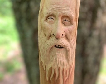 SUMMER SALE Walking Stick, Wood Carving, by Josh Carte, Hand Carved Wood Art, Chainsaw Carving, Carving of a Face, Wood Sculpture, Wizard