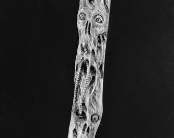 Halloween SALE Walking Stick, Macabre Art, Wood Carving, Demons, Hand Carved Wood Art, Wooden Cane, by Josh Carte, Chainsaw Carving, Made in