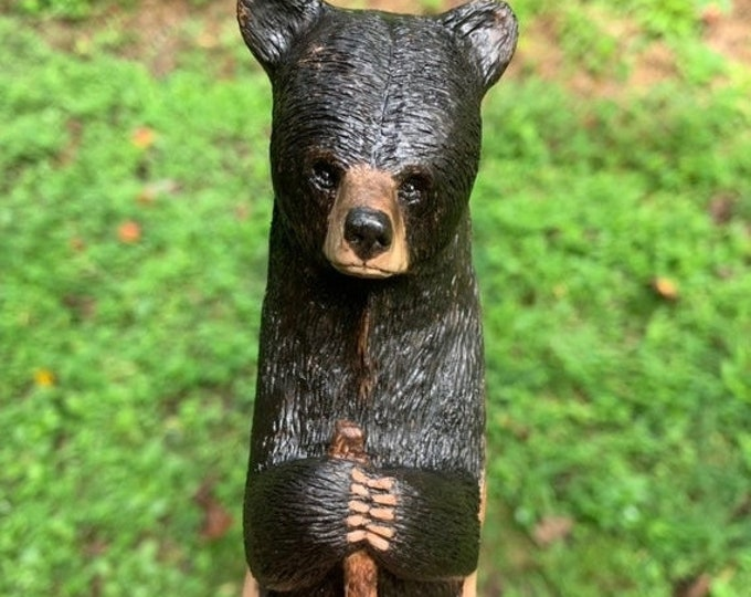 Halloween SALE Bear Walking Stick, Wood Carving, Hiking Stick, Wood Cane, Bear Carving, Chainsaw Carving, Hand Carved Wood Art, by Josh Cart