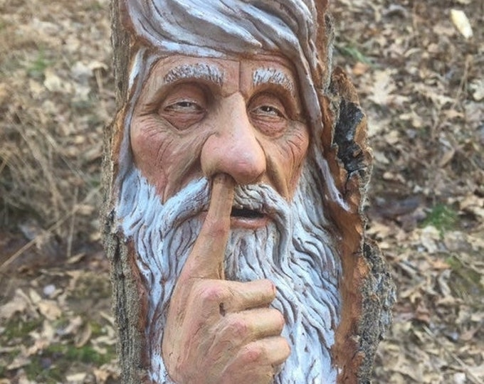 Halloween SALE Wood Carving, Wood Spirit Carving, Chainsaw Carving, Made in Ohio, by Josh Carte, Carving of a Face, Nose Picker
