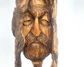 Wood Carving, Wood Spirit Carving, Wood Wall Art, Carving of a Face, Handmade Woodworking, by Josh Carte, Unique Art, Made in Ohio