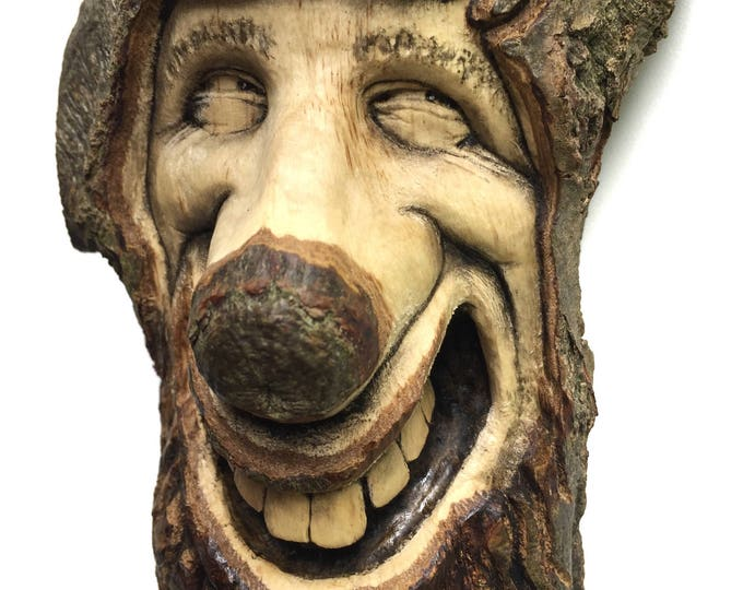 SALE, Wood Spirit, Wood Carving, Happy, Smile, Hand Carved Wood Art, Home Decor, Unique Sculpture by Josh Carte, OOAK, Handmade Woodworking,