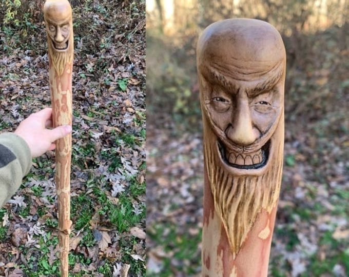 SALE New Year Walking Stick, Wood Carving, Handmade Woodworking, by Josh Carte, Hiking Stick, Carved Cane, Wood Spirit Carving, Original Art